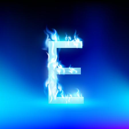 lettre de feu: lettre E avec le feu bleu