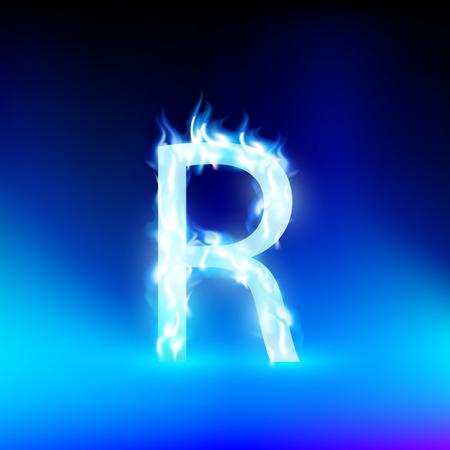 letter R met blauwe brand