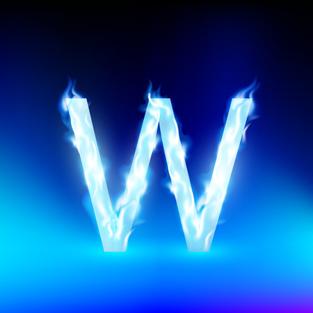 blue fire: letter W with blue fire