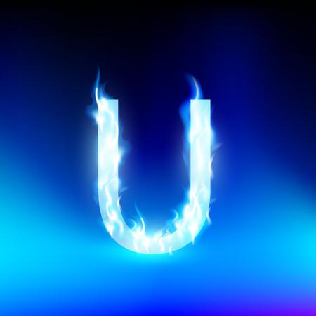 letter u: letter U with blue fire Illustration