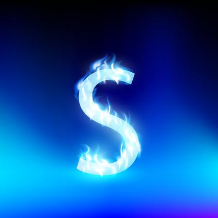 fiery font: Buchstabe S mit blauem Feuer