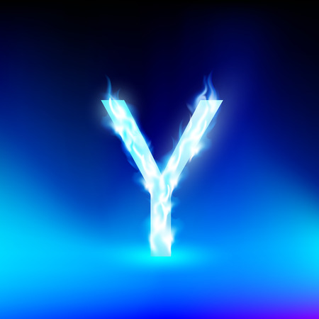 blue fire: letter Y with blue fire Illustration