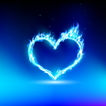 heart burn: human heart with a blue light