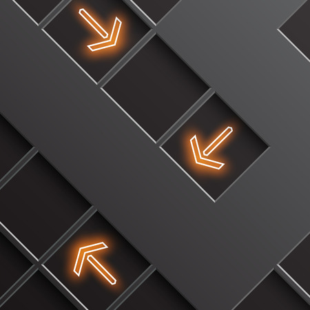 indicate: glowing arrows indicate the direction Illustration