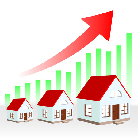 row houses: growth chart of real estate Illustration