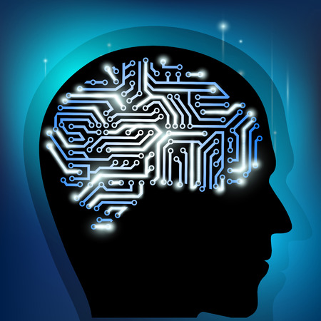 xray machine: the human brain as a computer chip Illustration