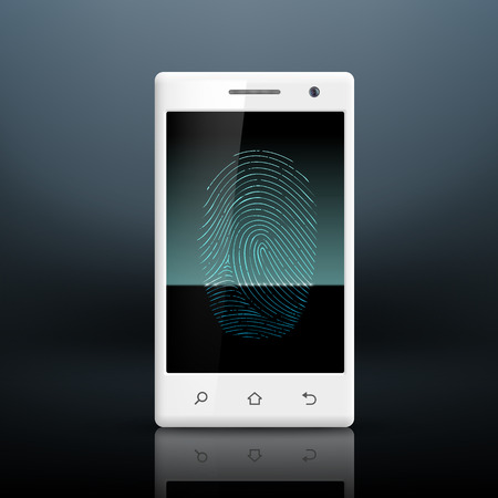 Smartphone with fingerprint on the screen Vector