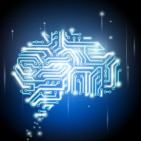 physiology: the human brain as a computer chip Illustration