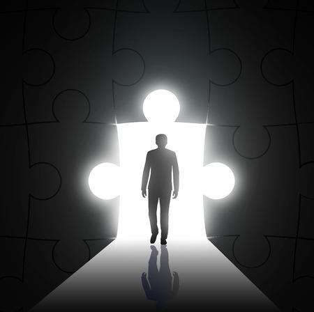 suspenso: silueta del hombre sobre un fondo del agujero en forma de rompecabezas