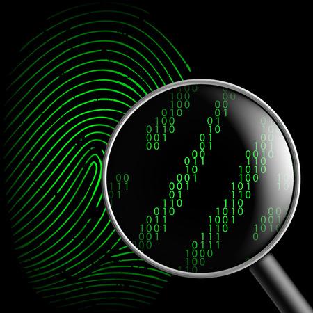 criminal activity: fingerprint and magnifying glass