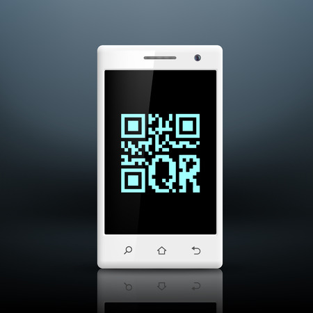 scanning qr code on the screen of smartphone