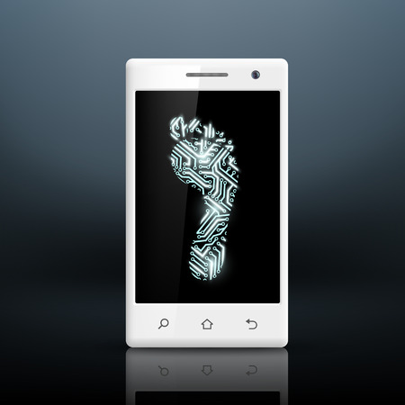footprint in the form of chips on the screen of smartphone