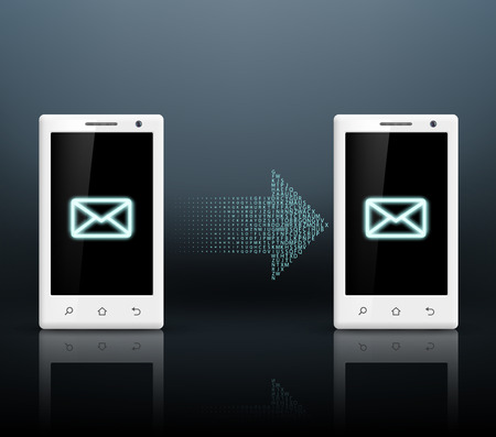 transmit: two smartphones transmit messages