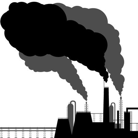 contaminacion del aire: Contaminaci�n Negro silueta sobre un fondo blanco