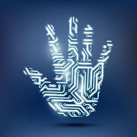 semiconductors: human hand in the form of a computer chip