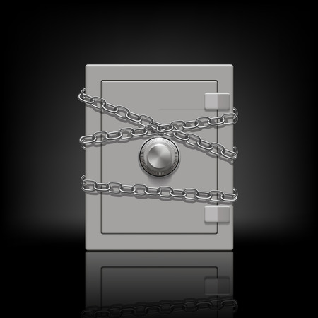 safe deposit box: safe wrapped metal chain