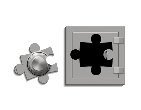 cache: metal safe with a lock as a jigsaw puzzle Illustration