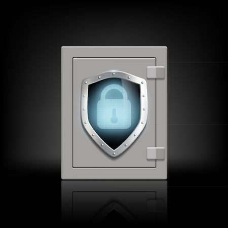 security door: metal safety box with a shield which depicts a lock Illustration