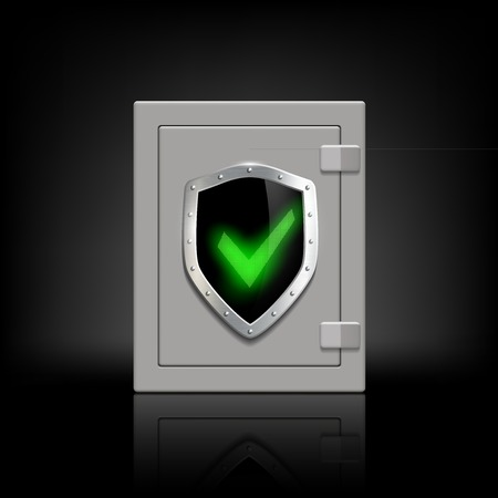 safety box: metal safety box with a shield which depicts a tick