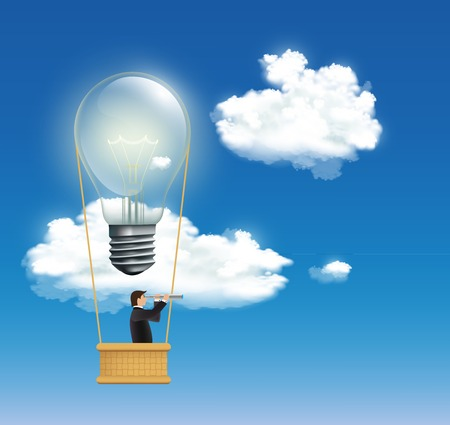 man in a hot air balloon in the form of an incandescent lamp
