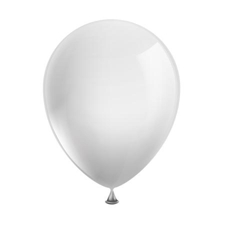 globos de cumplea�os: globo blanco aislado en fondo blanco