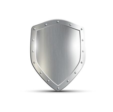 escudo: escudo de metal aislado en el fondo blanco Vectores