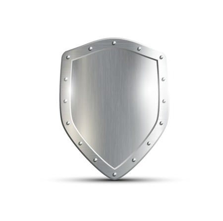 protection symbol: metal shield isolated on white background