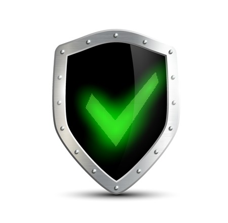 an ally: metal shield with green tick. isolated on white background Illustration