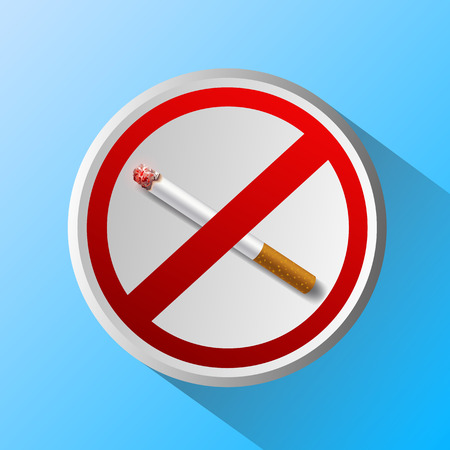 ashtray: ashtray with cigarette and prohibitory sign