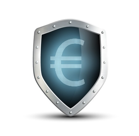 ensuring: metal shield with the image of euro. isolated on white background