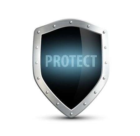 protect icon: metal shield with the inscription protect. isolated on white background Illustration