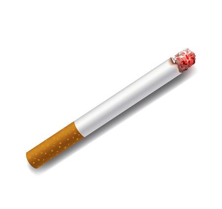 smoldering: fumante sigaretta su uno sfondo bianco