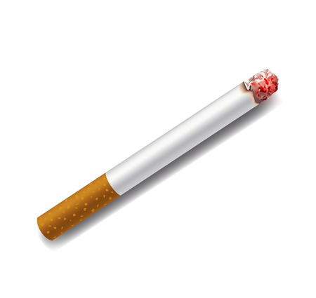 ash: smoldering cigarette on a white background