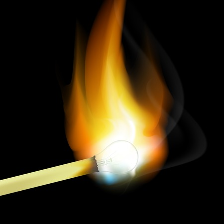 pyromania: burning match in the form of light bulbs Illustration