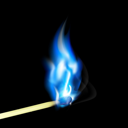 pyromania: Burning match with blue flame