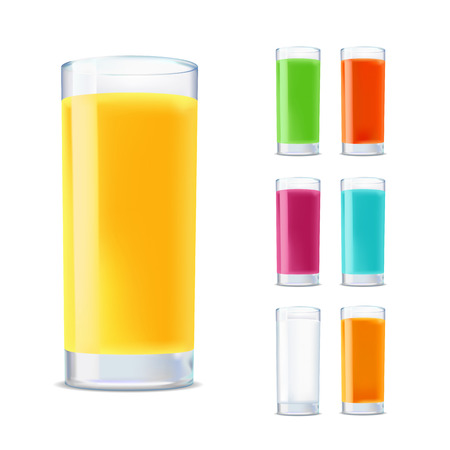 verre de jus d orange: un ensemble de verres à jus isolé sur fond blanc Illustration
