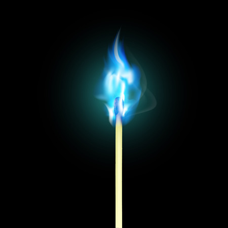 blue flame: Burning match with blue flame