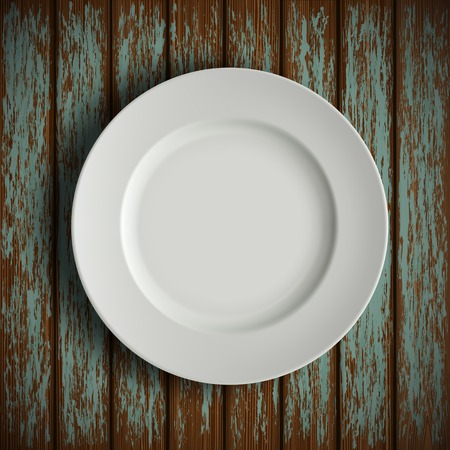 empty plate: white plate on old wooden table Illustration
