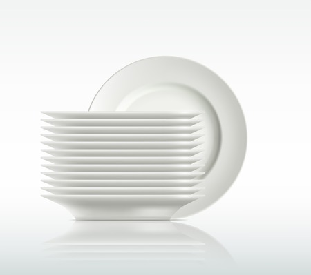 stacked: porcelain plates on a white background