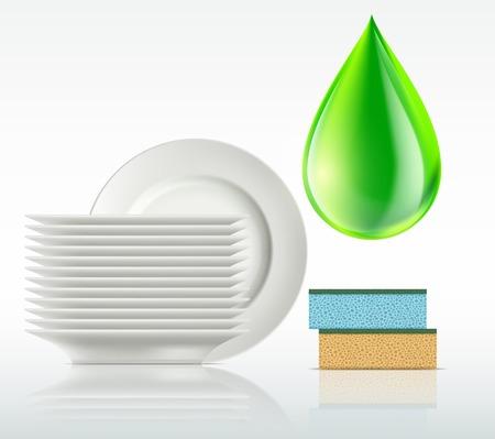 lavar platos: placas y una gota de detergente aislados en fondo blanco