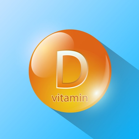 a d: orange capsule with vitamin D on a blue background