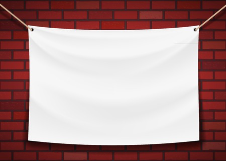 white banner hanging on a brick wall background