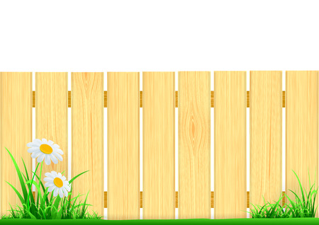 wooden fence and green grass Illustration