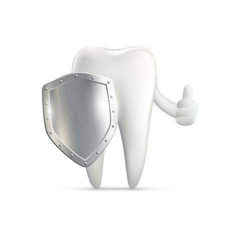 dientes: diente humano escudo de metal que sostiene
