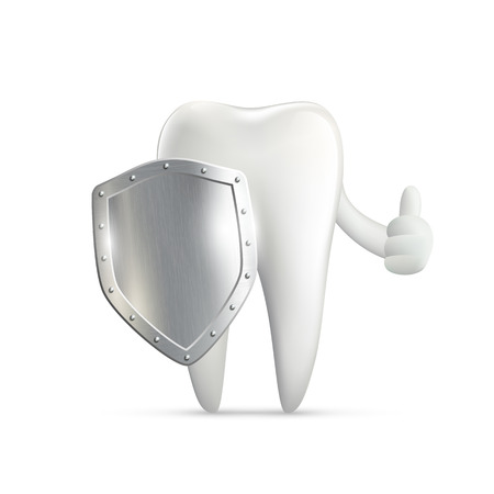 blue tooth: human tooth holding metal shield