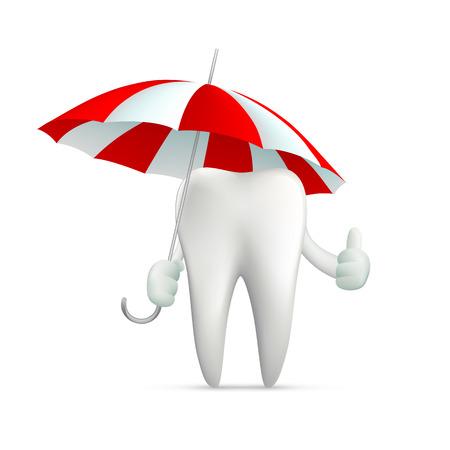 carious cavity: human tooth holding an umbrella