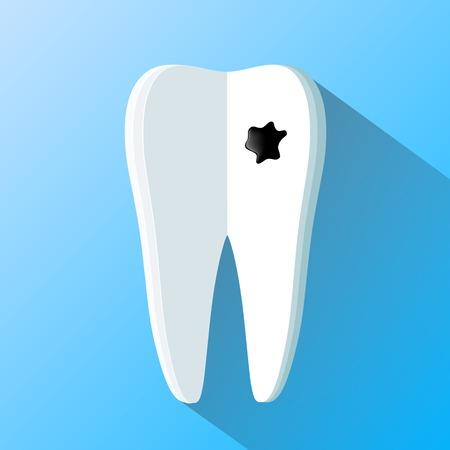 carious cavity: human tooth as a notepad. Flat design Illustration