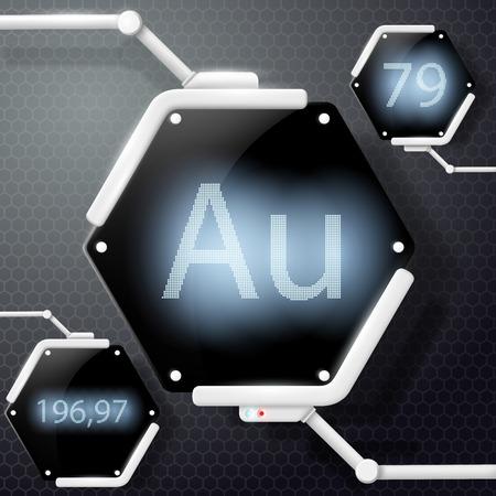 chemical element gold Illustration