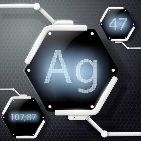argentum: chemical element silver Illustration