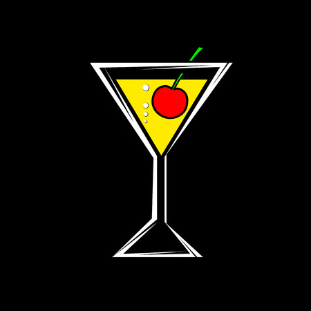 a glass with a cocktail and cherry isolated on a black background Vector